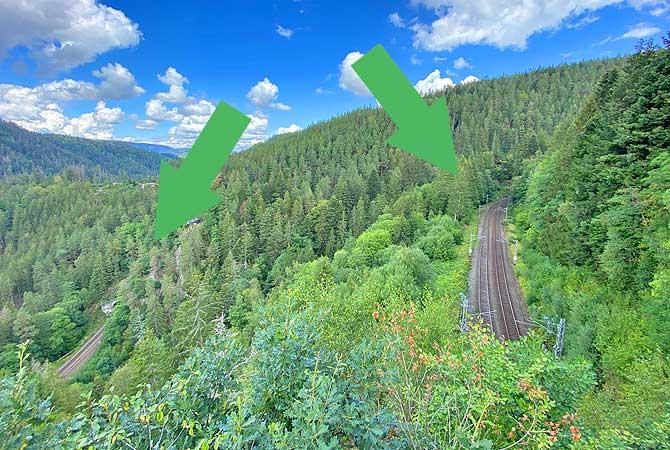 Dreibahnenblick Schwarzwaldbahn-Wanderweg